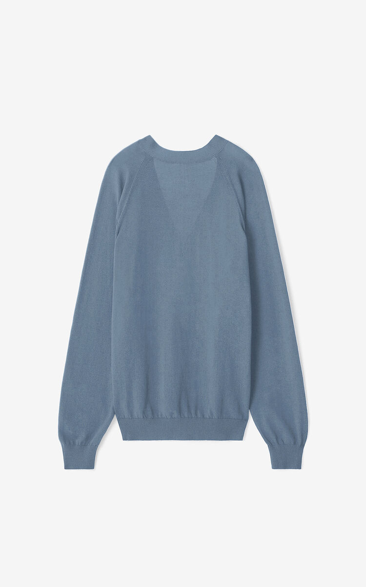 BLUE Tiger Crest oversize cardigan     for women KENZO