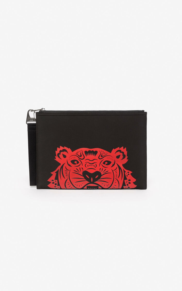 BLACK 'Chinese New Year Capsule' Tiger A4 clutch for unisex KENZO