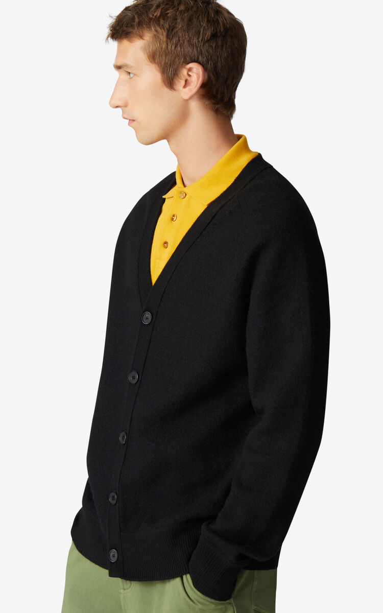 BLACK Wool cardigan for men KENZO
