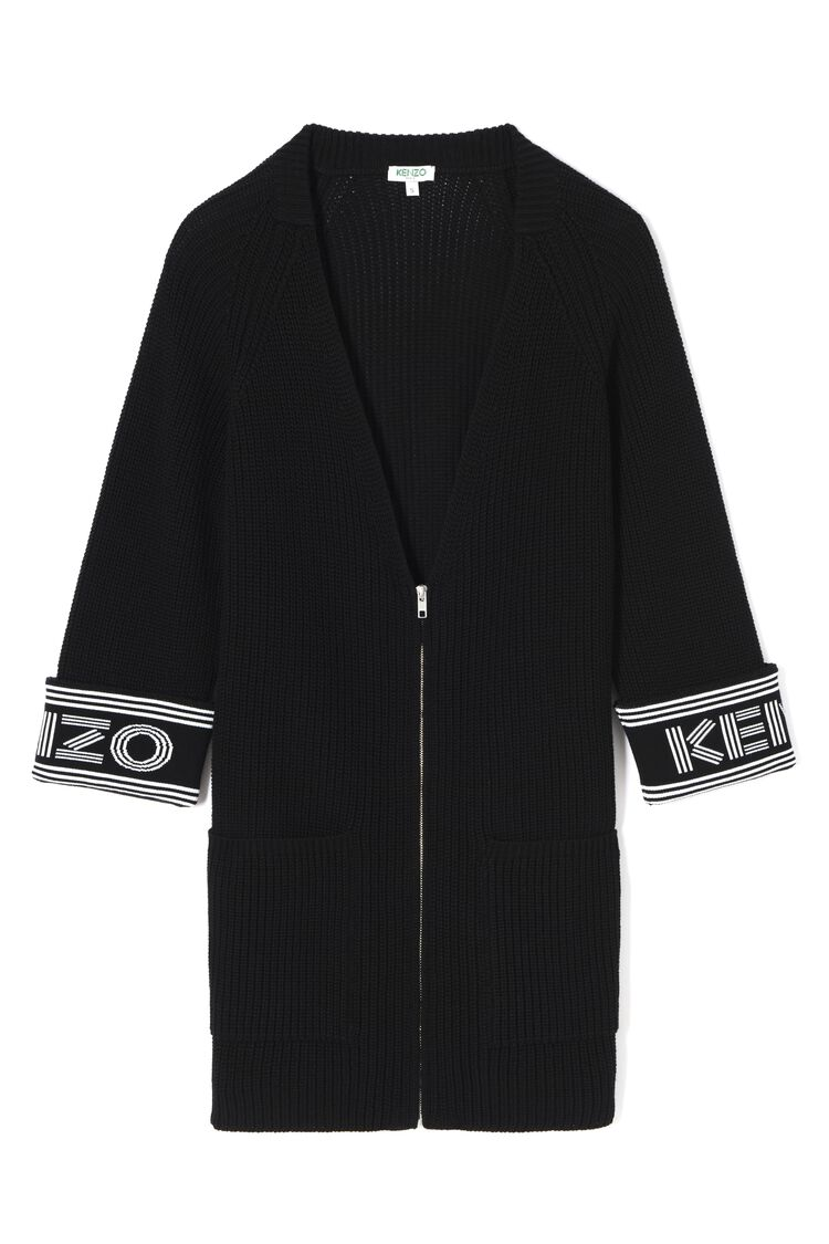 BLACK Longline Jacket KENZO Logo for women