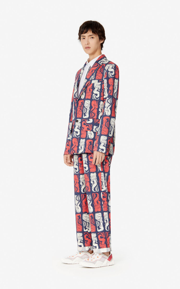 MIDNIGHT BLUE Straight-cut 'Mermaids' trousers for men KENZO