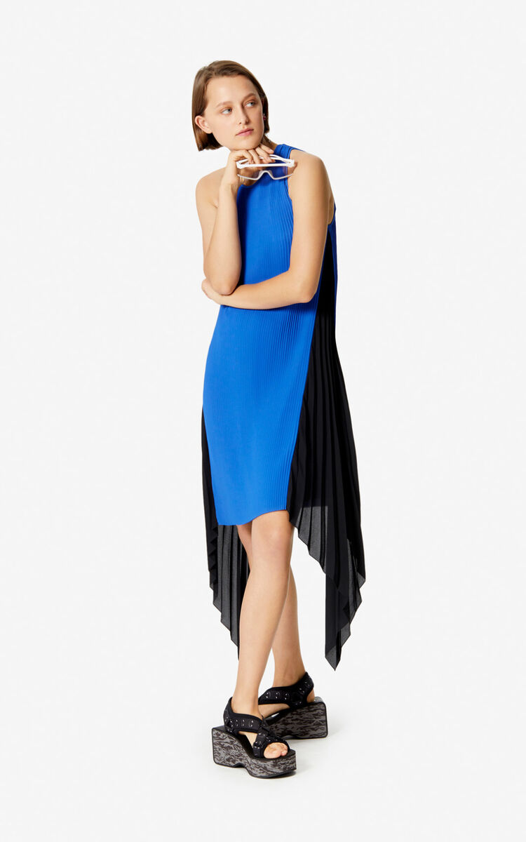 ELECTRIC BLUE Two-tone gathered dress for women KENZO