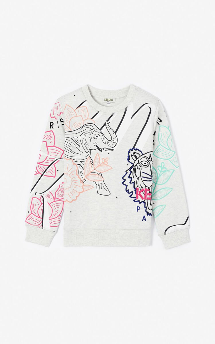 PALE GREY 'Disco Jungle' multi-icon sweatshirt for women KENZO
