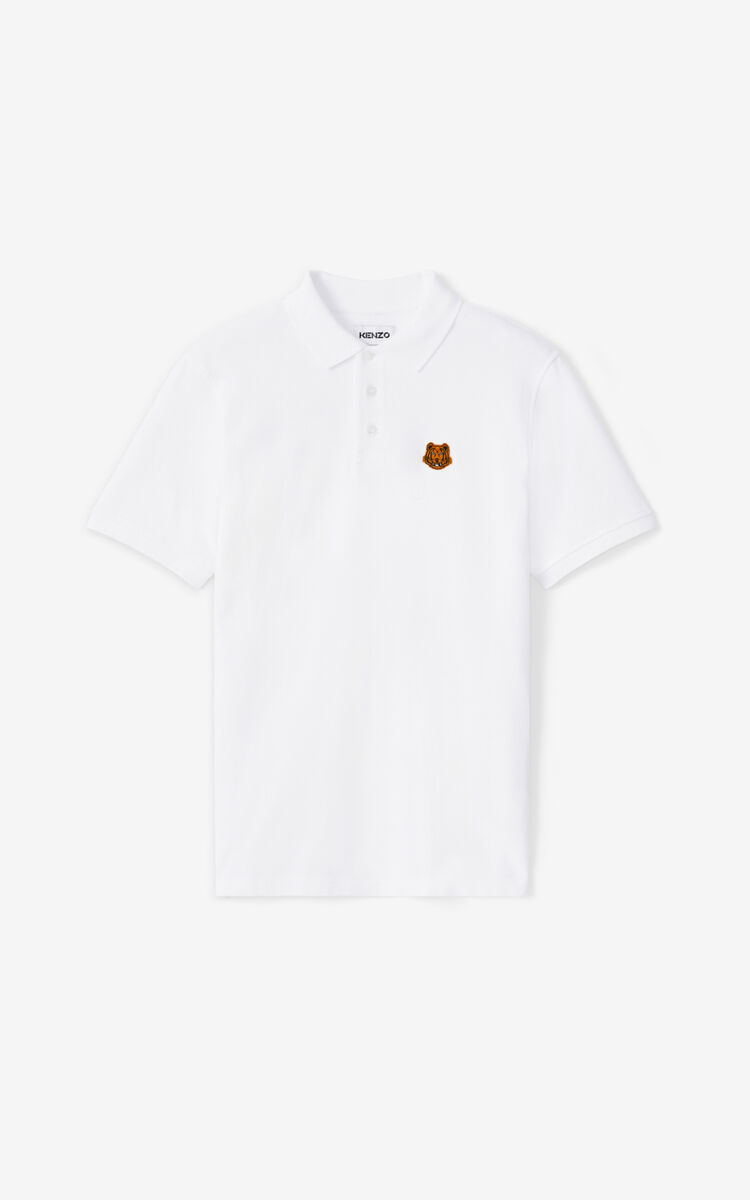 WHITE Tiger Crest polo for men KENZO