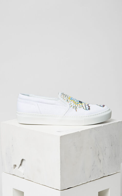 WHITE Géo-Tiger x Rainbow' Slip-on for women KENZO