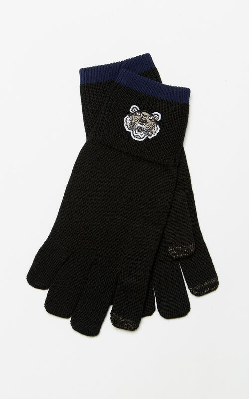 BLACK Tiger gloves for unisex KENZO