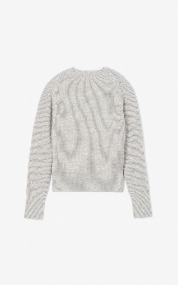 PALE GREY 'Holiday Capsule' cashmere Eye jumper for women KENZO