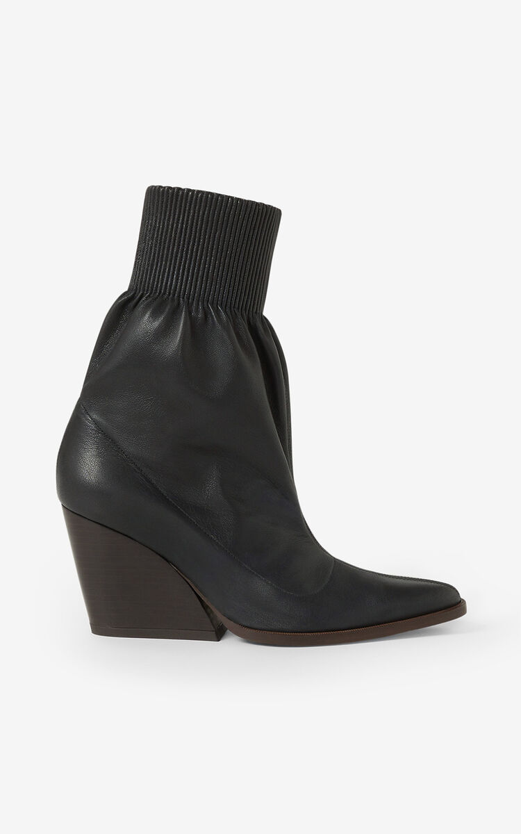 BLACK Billow leather ankle boots for women KENZO