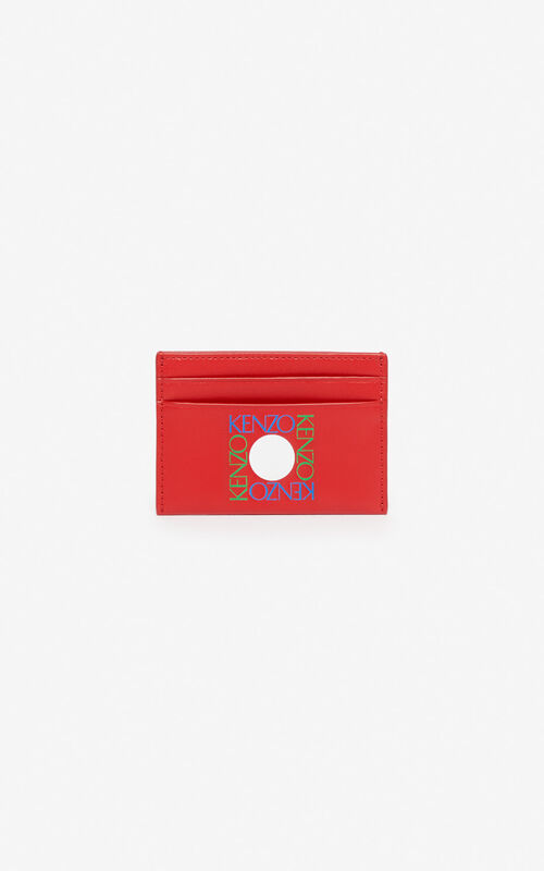 MEDIUM RED 'Square Logo' leather card holder for unisex KENZO