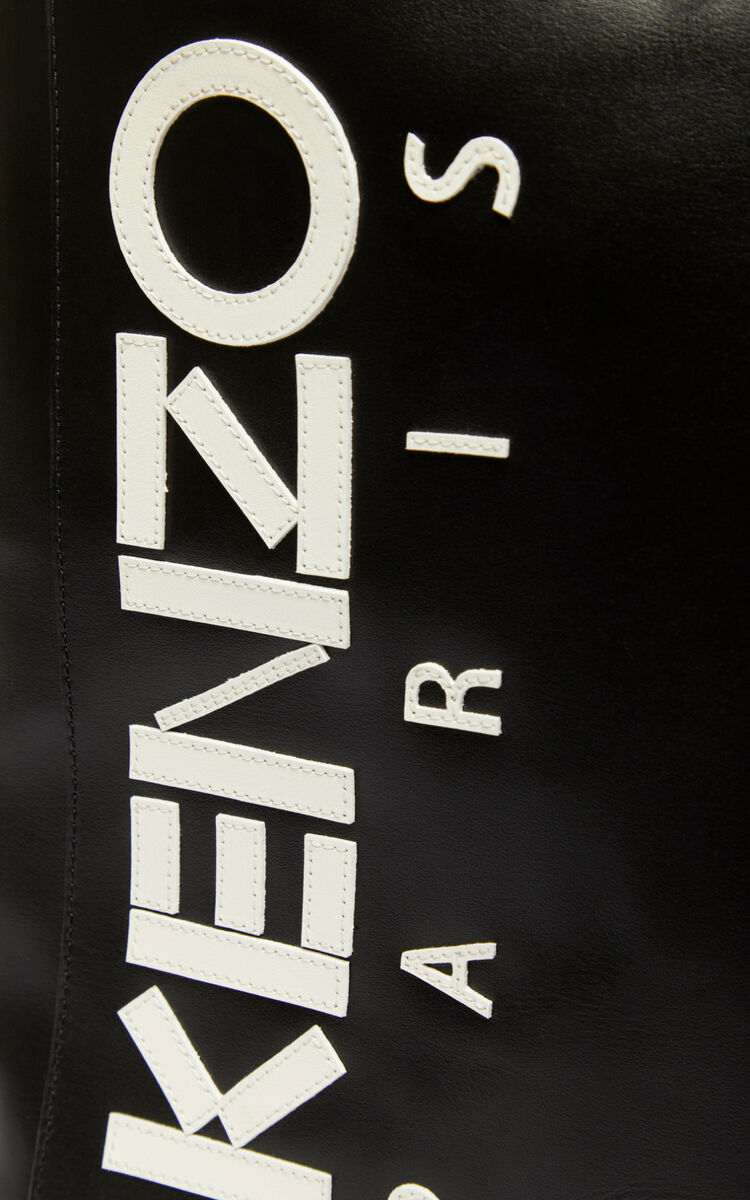 BLACK KENZO Logo leather Backpack for men
