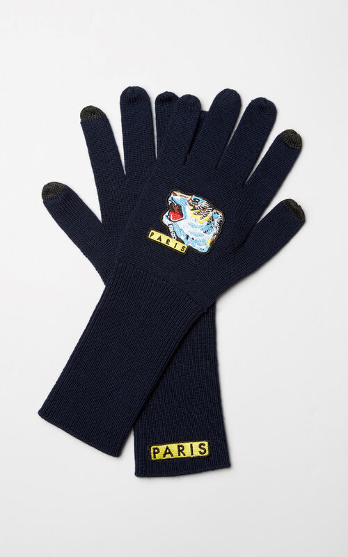 NAVY BLUE 'Tiger Face' gloves for women KENZO