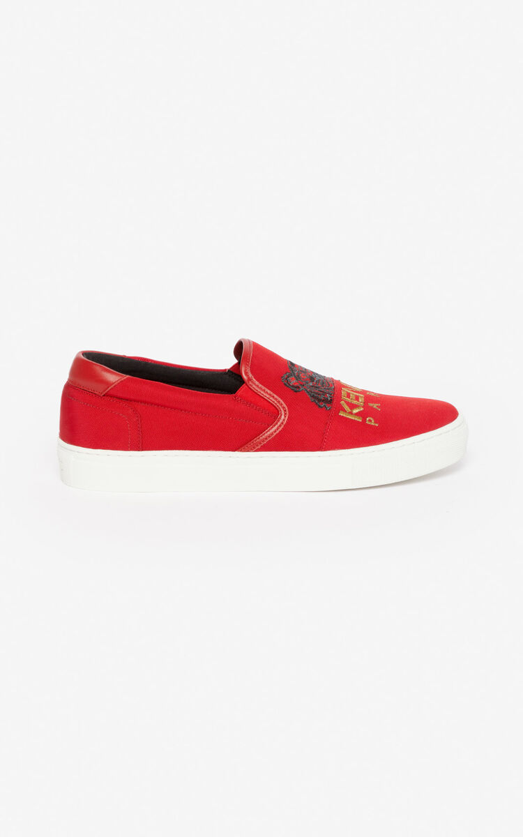 MEDIUM RED K-Skate Tiger slip-ons for unisex KENZO