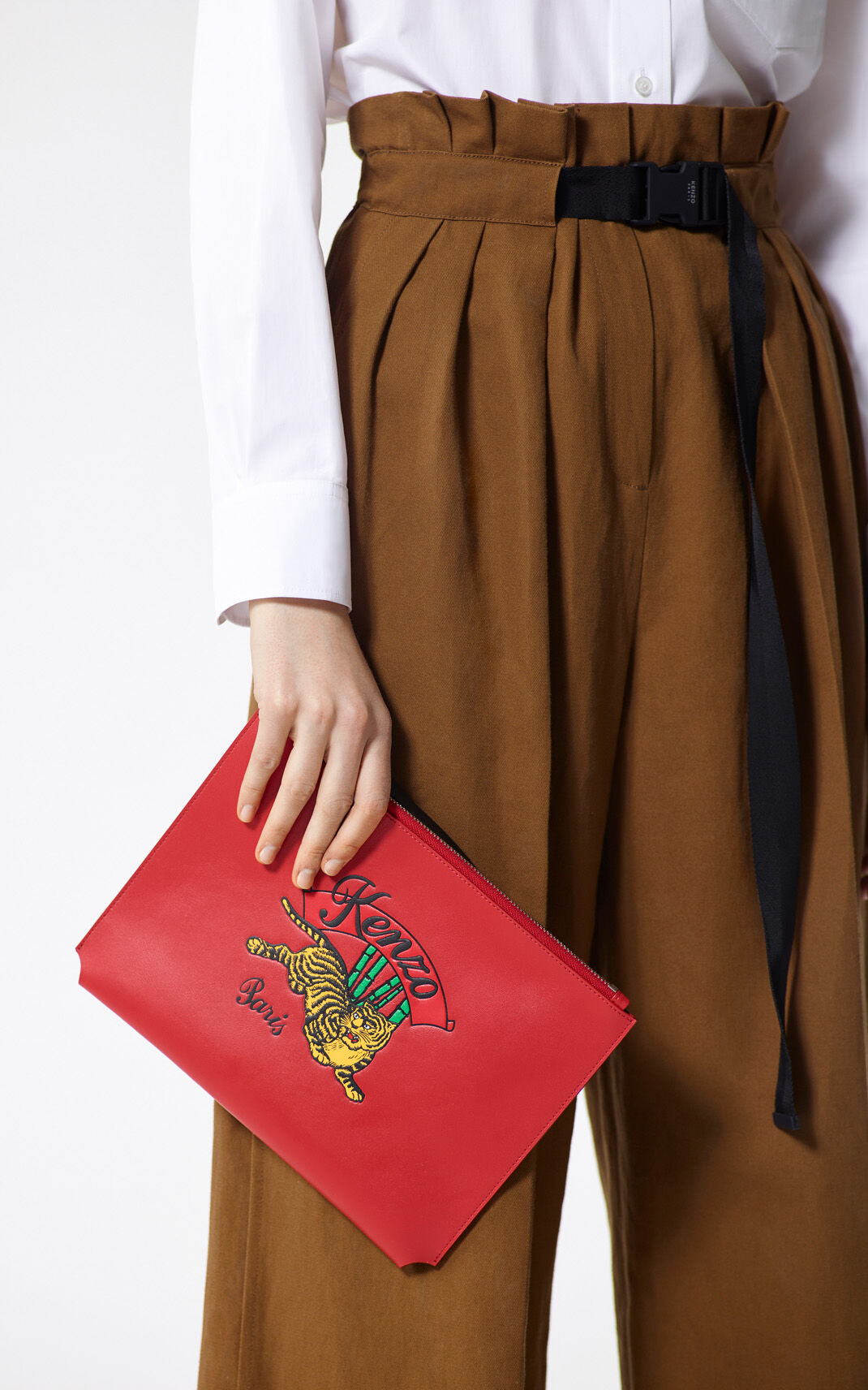 MEDIUM RED A4 'Jumping Tiger' Clutch Bag for unisex KENZO