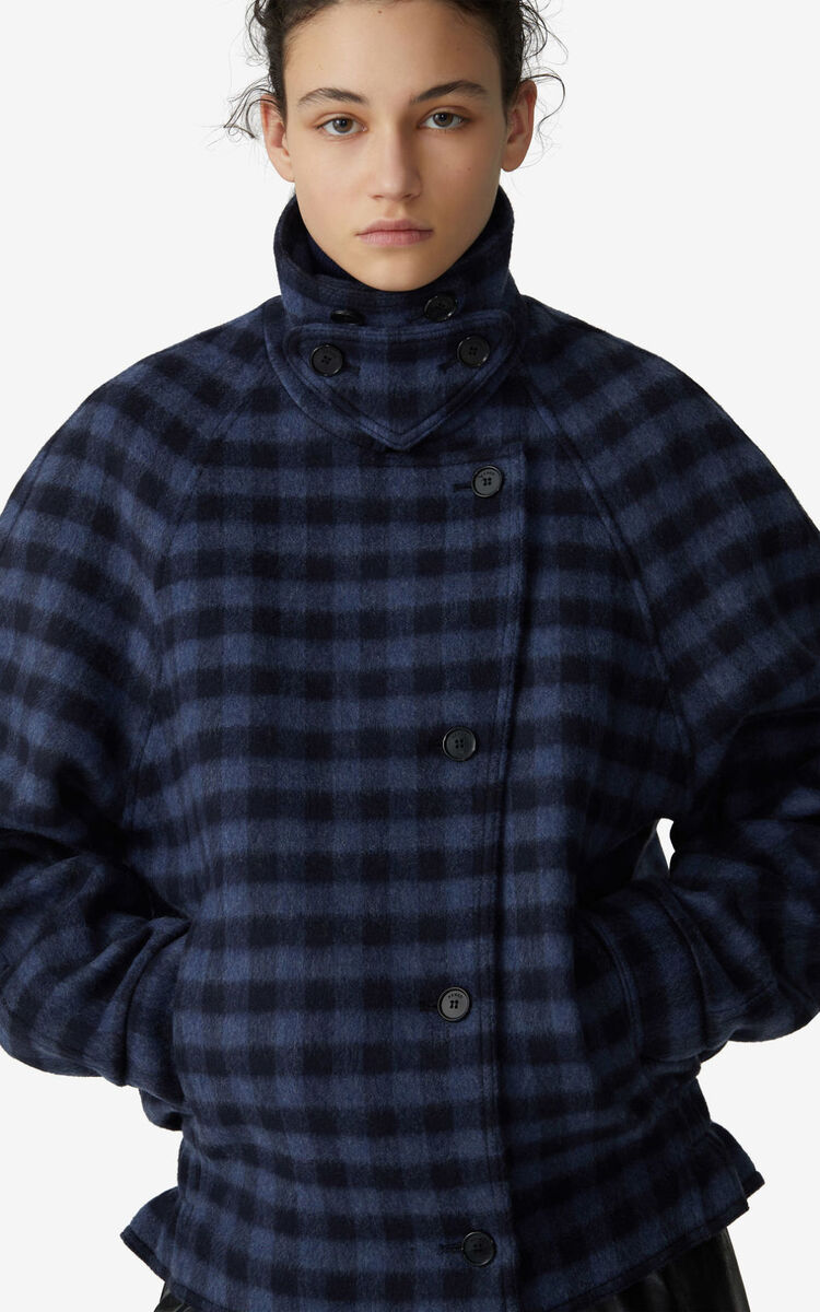BLUE Checked coat for women KENZO