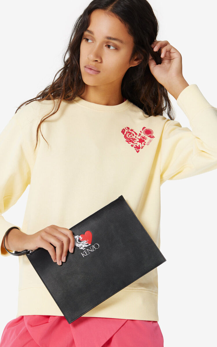 BLACK 'Valentine's Day Capsule' 'Lucky Tiger' leather clutch for men KENZO