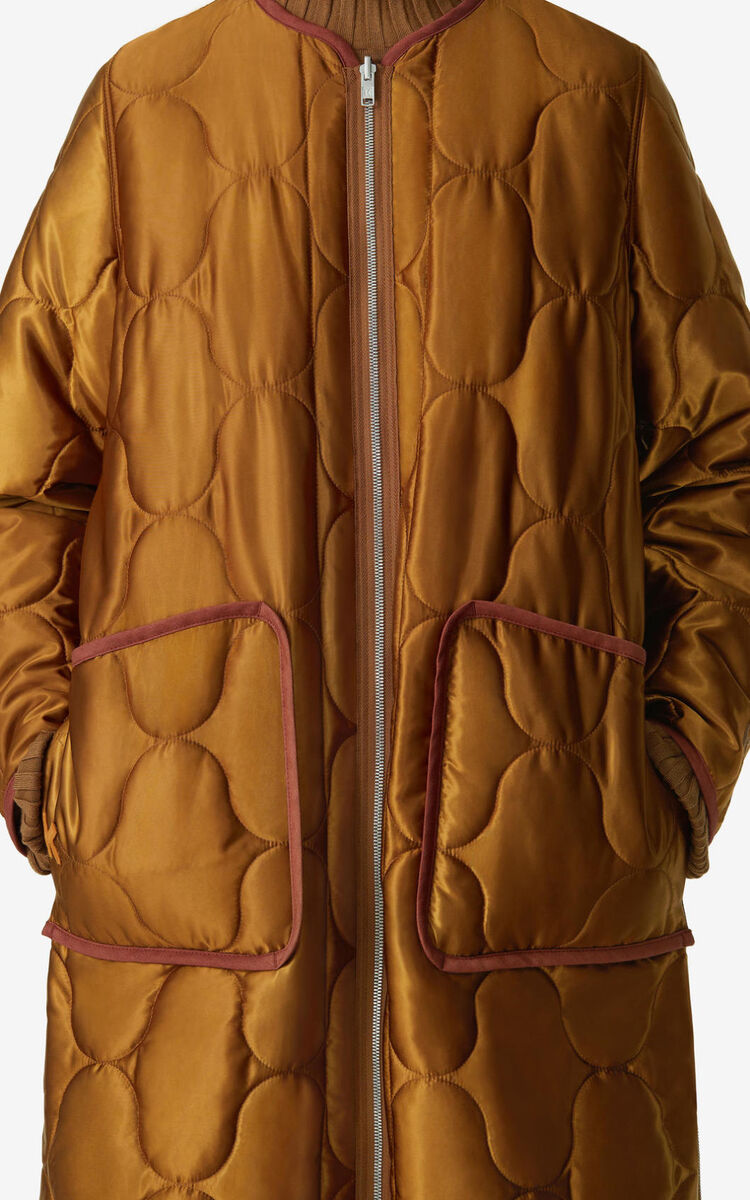 DARK CAMEL Reversible zipped padded coat for women KENZO