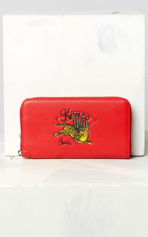 MEDIUM RED 'Jumping Tiger' leather wallet for unisex KENZO