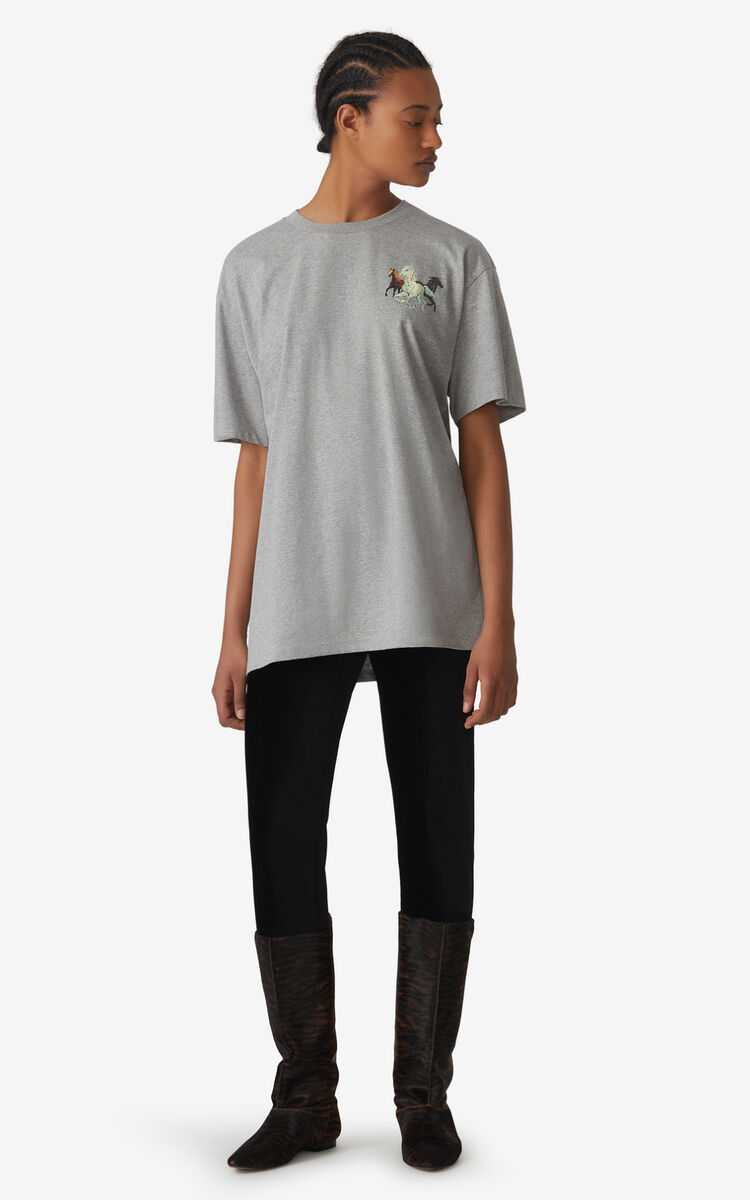 PEARL GREY T-shirt oversize 'Chevaux KENZO' for women