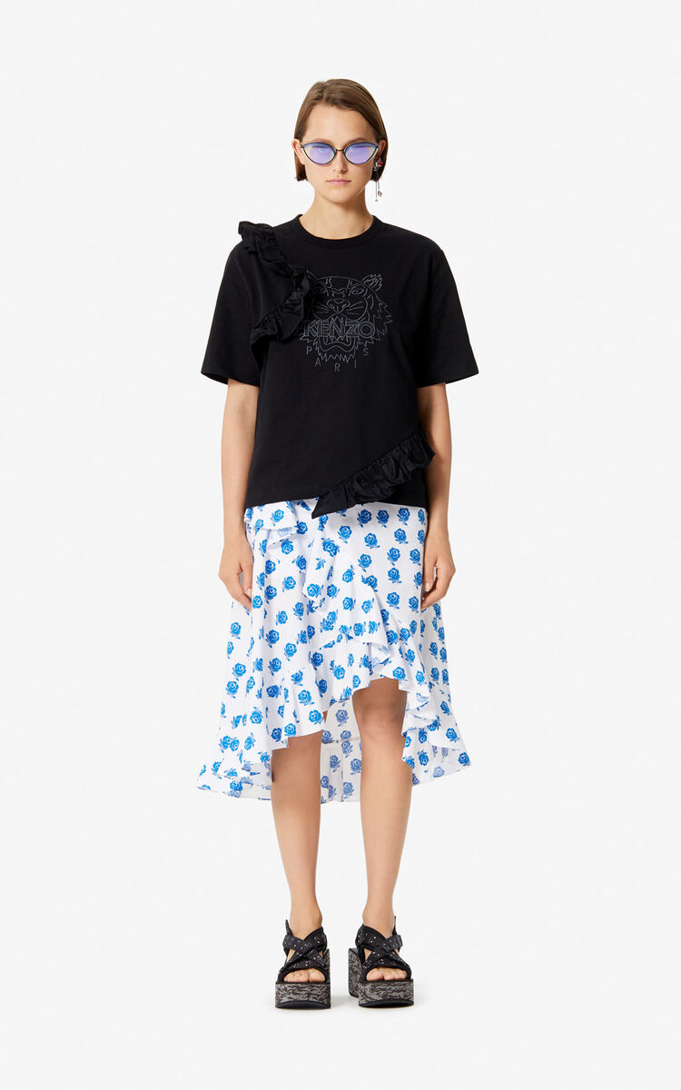 BLACK Tiger t-shirt with ruffles for women KENZO
