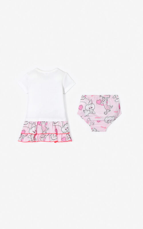 WHITE Tiger dress and knickers set for women KENZO