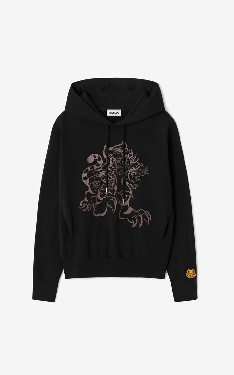 BLACK KENZO x KANSAIYAMAMOTO 'Three Tigers' hooded sweatshirt for women
