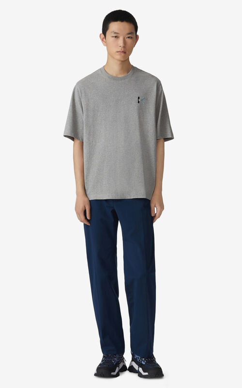 PEARL GREY Oversized K Logo t-shirt for men KENZO