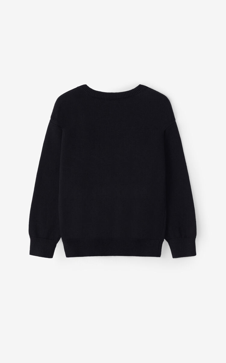 BLACK 'Lima' Eye cashmere sweater for women KENZO