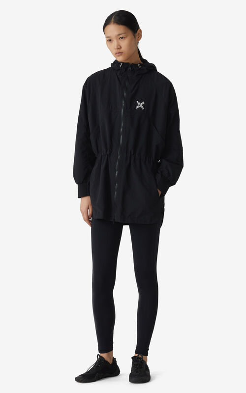 BLACK KENZO Sport 'Little X' lightweight parka for women