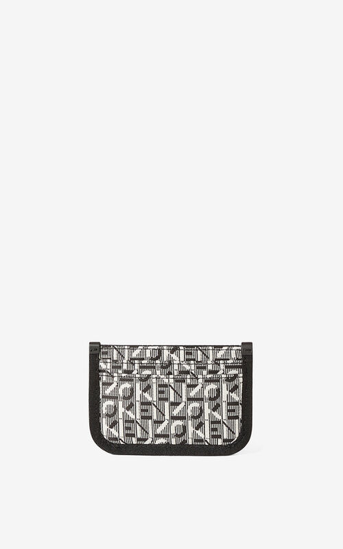MISTY GREY Courier jacquard card holder for unisex KENZO