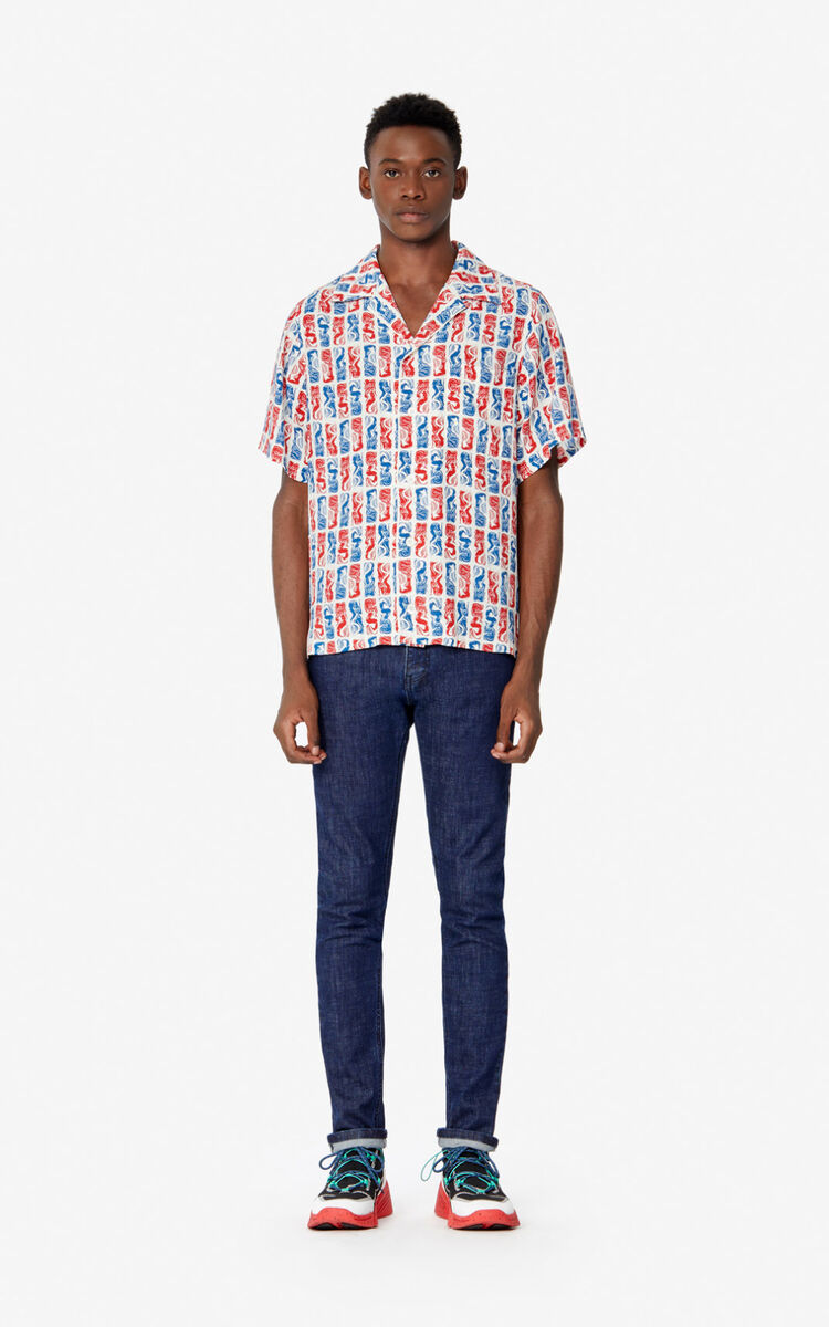NAVY BLUE Mermaids' skinny jeans for men KENZO