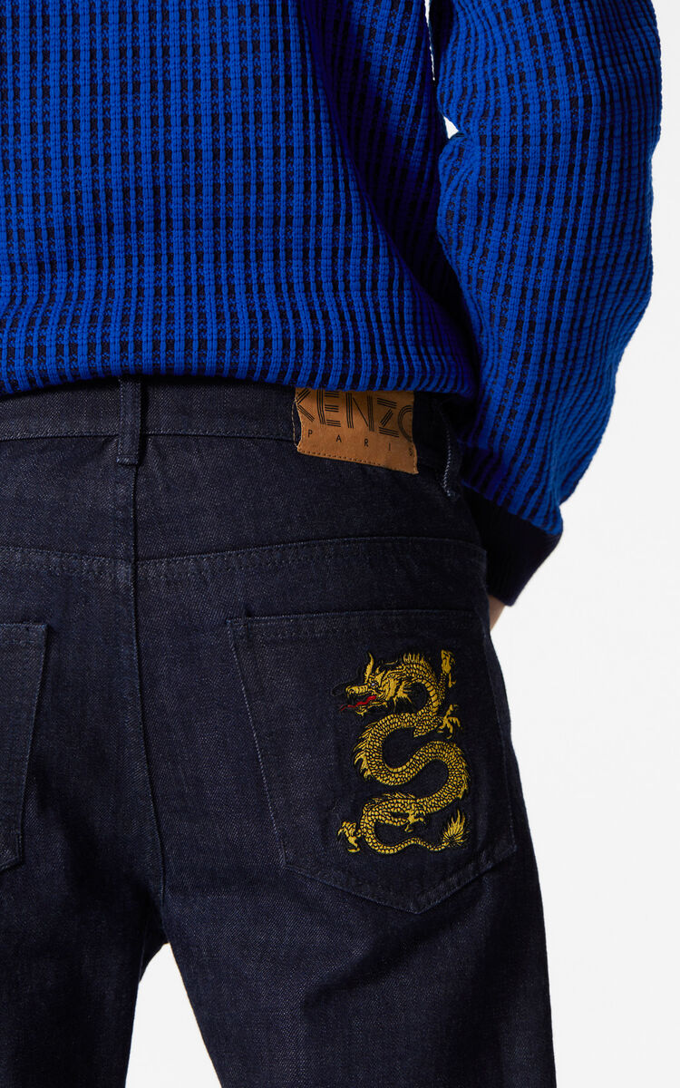 NAVY BLUE Dragon slim-fit jeans for men KENZO