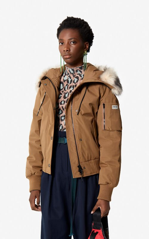 DARK CAMEL Puffa Jacket for women KENZO