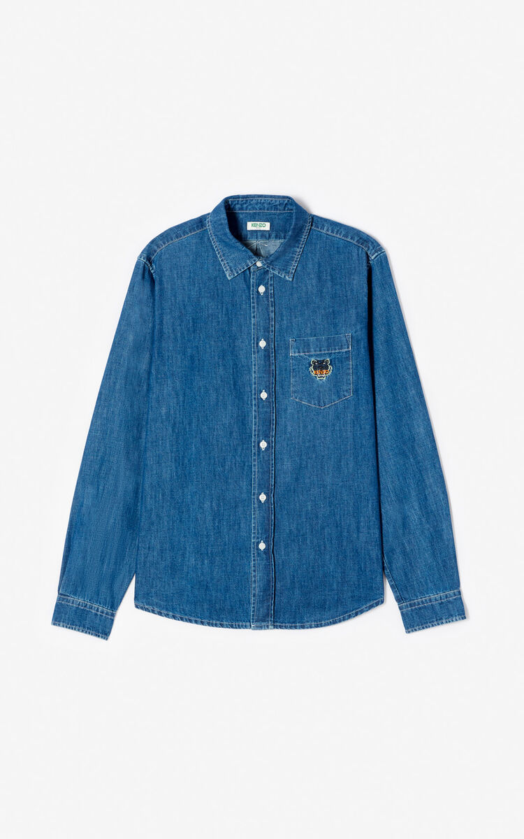 NAVY BLUE Casual denim shirt for men KENZO