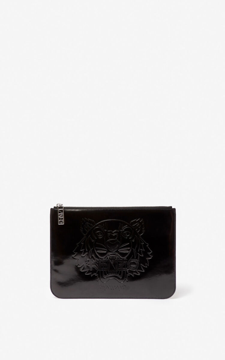 BLACK Tiger A4 clutch  for unisex KENZO