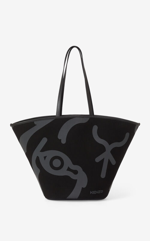 BLACK Large KENZO Arc canvas tote bag for women
