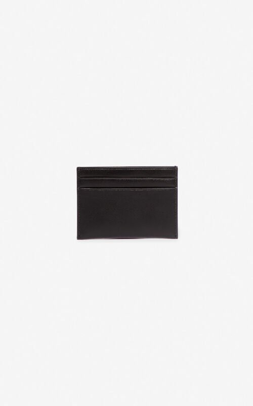 BLACK 'Square Logo' leather card holder for unisex KENZO