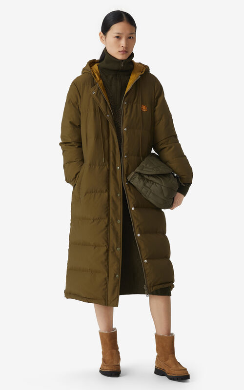 KHAKI Reversible long quilted coat for women KENZO