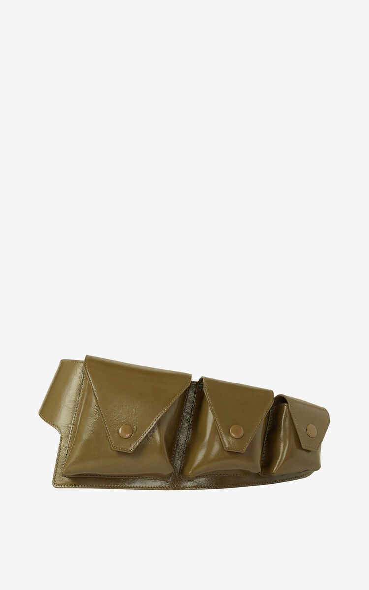 KHAKI KENZO Onda leather utility belt for unisex