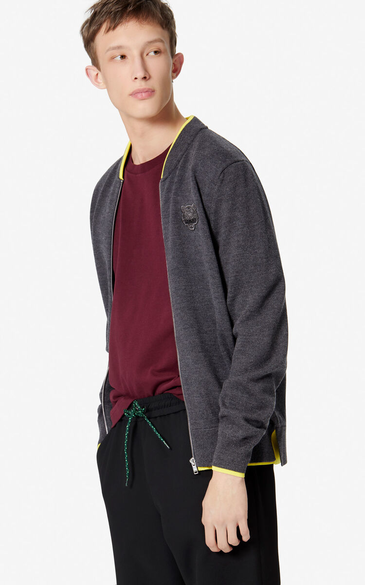 ANTHRACITE Tiger zipped cardigan for men KENZO