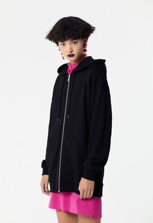 BLACK KENZO logo hooded jacket for women