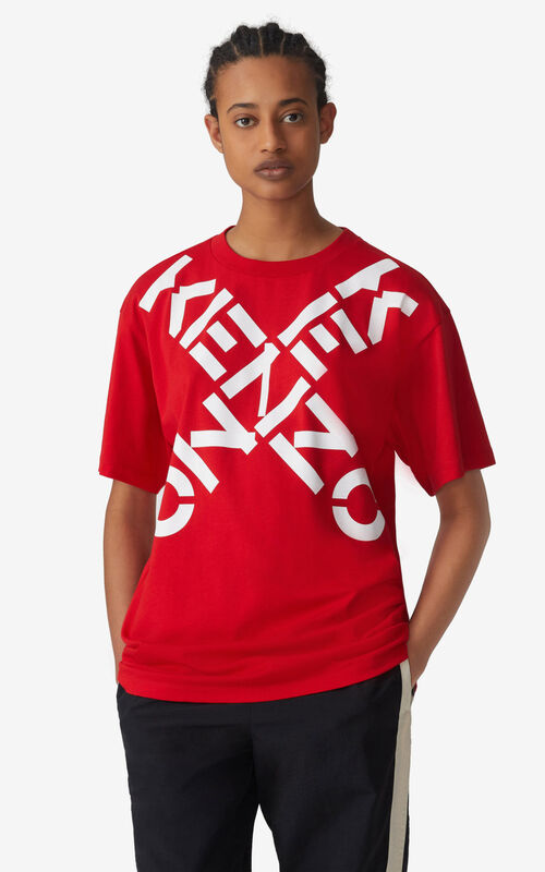 MEDIUM RED KENZO Sport 'Big X' oversized t-shirt for women
