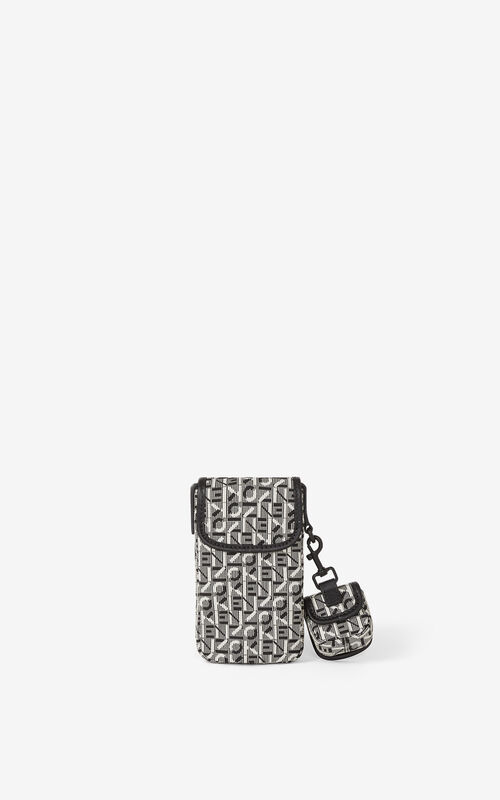 MISTY GREY Courier jacquard phone pouch with strap for unisex KENZO