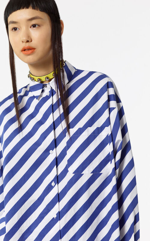 DEEP SEA BLUE Striped oversized shirt for women KENZO