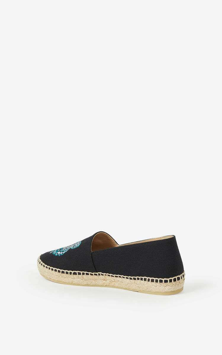 BLACK Canvas Tiger espadrilles for unisex KENZO