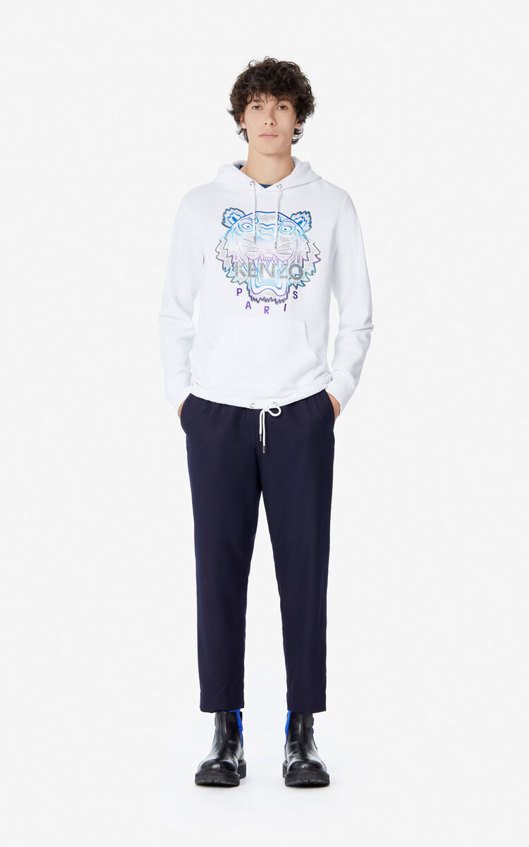 WHITE 'Holiday Capsule' hooded Tiger sweatshirt for men KENZO
