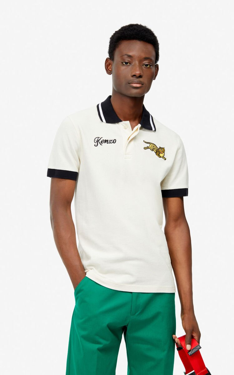 ECRU Fitted 'Jumping Tiger' polo for men KENZO