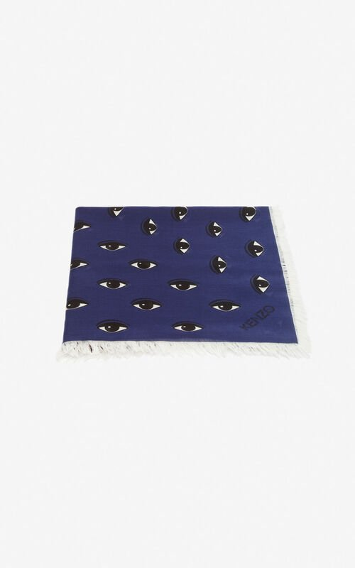 MIDNIGHT BLUE Large multi eye scarf for unisex KENZO