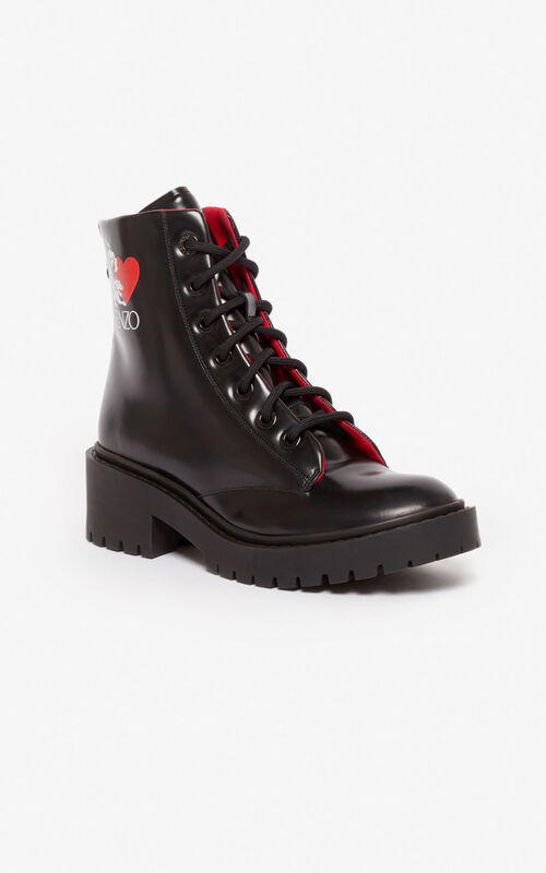 BLACK 'Valentine's Day Capsule' 'Lucky Tiger' Pike boots for unisex KENZO