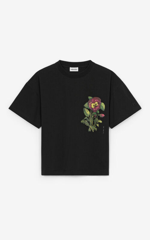 BLACK 'Pansy' casual T-shirt for unisex KENZO