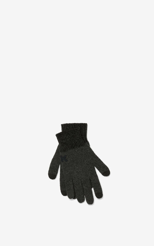 BLACK K Logo gloves for unisex KENZO